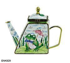 KELVIN CHEN Enamel Copper Hand Painted Mini Teapot  Frog Lily Pad Umbrella