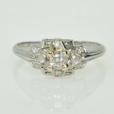 Antique 18k White Gold 1/4Ctw Mine & Single Cut Diamond Right Hand Estate Ring