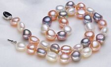 """18""""12-13mm natural south sea white gold pink pearl necklace DA16"""