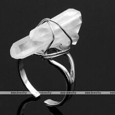 Natural Silver Wire Wrap Rock Crystal Healing Chakra Stone Charm Ring Size US7