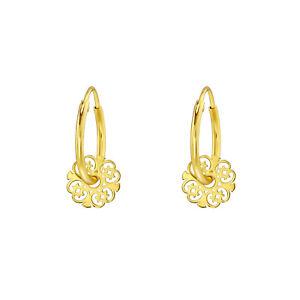 Yellow Gold Plated Floral Hoop Sterling Silver Mini Hoop Earrings 12mm