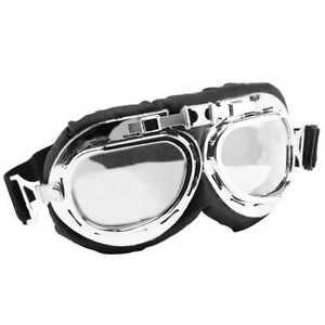 Motorradbrille Bikerbrille Fliegerbrille Boarder Retro Piloten Goggles Glas Klar