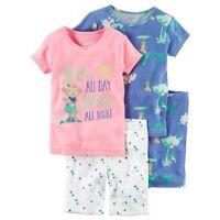 NWT $34 Carter's 4-Pc Toddler Girl's Hula Monkey Pajama Set Tops & Shorts 2T 3T