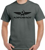 Aeroflot T-Shirt Retro Russian Airlines Soviet Union Aviation USSR Top Mens
