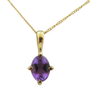 9ct Yellow Gold 0.7ct Oval Shaped Amethyst Fancy Single Stone Pendant With Chain