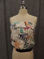 Summer Fun Vtg 1980s Sleeveless Tube Top Cinama Travel Print One Size Fits Most