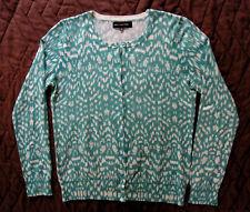 Jones New York -NWOT Turqoise Green Pattern button Sweater, Cotton Modal Nylon M