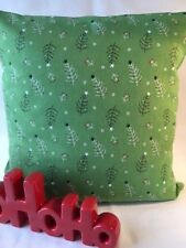 """Festive 16"""" x 16"""" Cushion Cover in Green with Christmas Trees"""