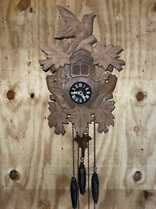Vintage E. Schmeckenbecher Cuckoo Clock West Germany 3 Weight Regula Mov't Works