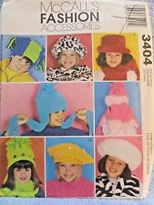 McCalls Pattern 3404 Girls Hat and Scarf Fashion Accessories 8 Styles Uncut