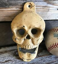 Antique Vintage Skull Cast Iron Bottle Opener Wall Mounted Pub Bar Man Cave Beer