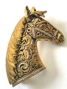 Vintage Damascene Horse Head Brooch Pin Vintage Equestrian