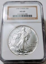 1987 AMERICAN SILVER EAGLE COIN NGC MS 69  COOL CERTIFICATION NUMBER! 🇺🇸