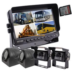 """12-32v 4Pin Heavy Duty Truck Reversing Kit 7"""" DVR Monitor+IR Reverse CCD Cameras"""