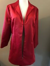 Chicos Womens Long Jacket Sz 1 Stylist 3/4 Sleeve Red Satin SOIREE Sheen Formal