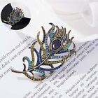 Women Brooch Feather Vintage Jewelry Pin Antique Crystal Accesso Rhinestone