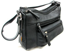 Single Short Strap Shoulder Everyday Purse Genuine Leather Medium Black