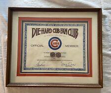 Vtg Framed Die Hard Chicago Cubs Fan Certificate Ernie Banks Green Autographs