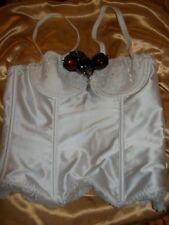 Pour Moi PM8205 White Underwired Padded Boned Strapless Satin Bridal Basque 32A