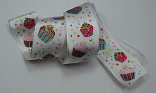 RIBBON with CUPCAKES, 1 Mtr, Gifts/Cards/Bows/Party/Christmas