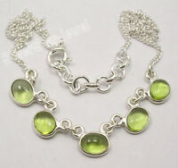 "925 Sterling Silver CABOCHON GREEN PERIDOT 5 STONE STYLISH Necklace 16.8"" NEW"