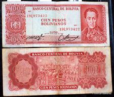 BOLIVIE  billet usage de 100 PESOS  Pick 164a  SIMON BOLIVAR 1962