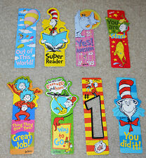 Lot of 8 Dr Seuss teacher's incentive Bookmarks Cat in the Hat Horton & more!