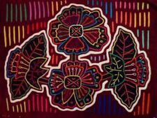 Kuna Indian Hand-Stitched Magnificent Flower Mola II-Panama 18051010L