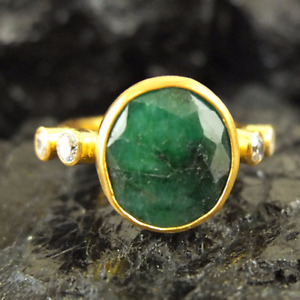 Handmade Hammered Natural Emerald And Zircon Ring Gold over 925 Sterling Silver