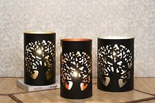 Tea Light Candle Holder Metal Black Set Of 3 Small Medium Large