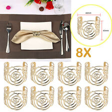 8*Gold Napkin Rings Rose Metal Serviette Buckle Holders Wedding Antique Decor Us