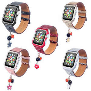 Bling Leather Band Strap for Apple Watch Series 3 2 1 Wristbands w Bumper Cover