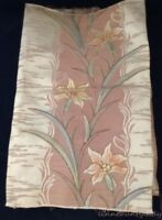"""Vtg Upholstery Fabric Panel Lilies Muted Earth Tones 50"""" x 19"""" Tapestry Weave FS"""