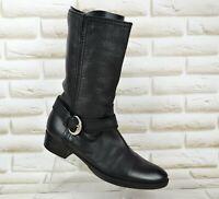GEOX Respira Womens Black Leather Biker Mid-Calf Boots Shoes Size 5.5 UK 38.5 EU