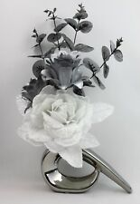 HANDMADE ARTIFICIAL SILK WHITE GLITTER ROSE, SILVER FLOWERS IN SILVER COMMA VASE