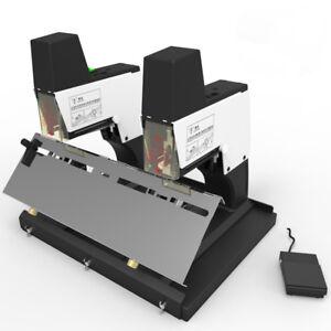 Dual head Electric Auto Flat Saddle Stitch Stapler Staple Machine Binder W/pedal