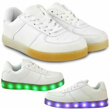 7036c58623 Kids Girls Boys LED Light Up White Trainers USB Charge Sneakers Pumps Shoes  Size