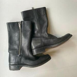 Frye Leather Boots Pull Up Chunky Side Zips Size 9.5 Excellent Condition