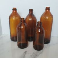 Amber Clorox Fleecy White One Quart Bottle Lot X5 Vintage Glass Bottles