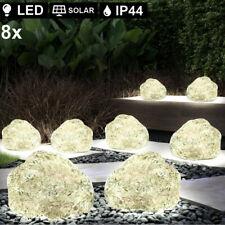 8er Set LED SOLAR Stein Deko Lampen Garten Strahler Hof Erdspieß Leuchten grau
