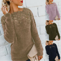 Women Jumper Sleeve Sweater Patchwork Casual Fluffy Pullover Blouse Long Tops