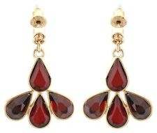 Zest Swarovski Crystals Tear-Drop Pierced Earrings Golden Red