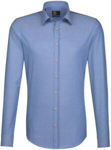 Seidensticker Langarm Hemd UNO SUPER SLIM Kent blau Struktur Gr. 43 / 573700.18