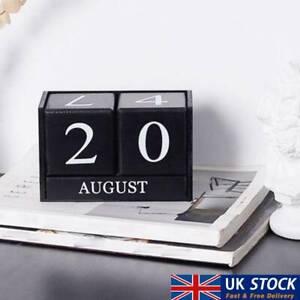 Wooden Perpetual Calendar Block Planner Permanent Desktop Agenda Home Decor  UK