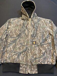 Carhartt Jacket/Hood Men SMALL Cotton Canvas-Mossy Oak Camo-Zip