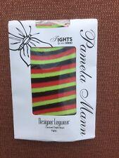 Pamela Mann Treble Stripe Twickers Tights, One Size UK 8-14 BNWT Lime/Red/Black