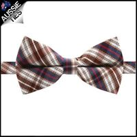 Boys Brown, Blue, Red & White Plaid Bow Tie