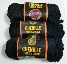 Lot of 3 Skeins Black Chenille Thick & Quick Lion Brand Yarn #2
