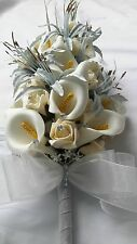 VINTAGE CREAM & GREEN ARTIFICIAL FLOWERS FOR BRIDE/BRIDESMAIDS WEDDING BOUQUET