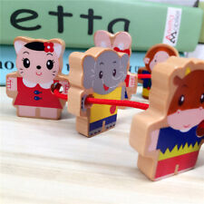 Wooden Lacing Beads Animals Blocks Threading For Children Educational Toy HZ
